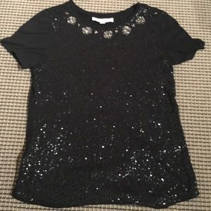 Black sequin festive shirt